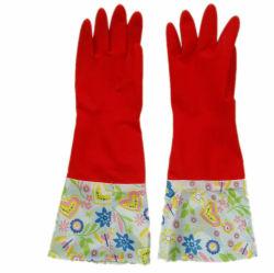De lange Handschoen van het Latex van de Was van het Huishouden Flocklined van het Manchet Dikke (jmc-418A)
