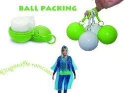 كرة معطف مطر قابلة للاستخدام مرة واحدة مع حلقة مفاتيح، مصنوعة من البولي إيثيلين