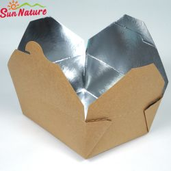 Commerce de gros isoler jetables contre la chaleur de l'aluminium boîte de pâtes kraft