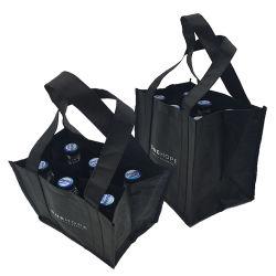 Grande capacité durable d'impression personnalisée 6 bouteilles de vin de l'emballage, commerce de gros sacs Noir Vin non tissé sac fourre-tout de stockage