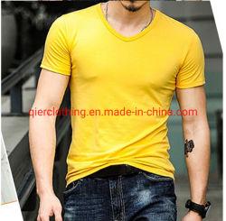 Os homens verão V pescoço roupas de lazer de manga curta camiseta desgaste de desportos de moda de algodão