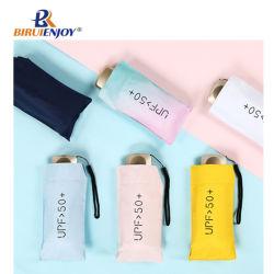 Anti-UV Mini Five-Fold Umbrella protectores solares UV proteção de mulheres a dobragem Parasol Pocket Travel Umbrella