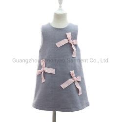 Ruban d'hiver Sans manches Col rond des arcs de la laine Wear filles robes pour les enfants d'usure de la mode