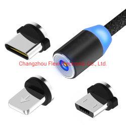 Téléphone cellulaire tressé magnétique 3 en 1 câble USB magnétique de charge LED pour Android de type C