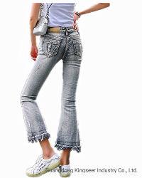 Venda por grosso de fábrica novo varejo Fashion utilizadas roupas mulheres informais reta orlada de calças Senhora Ankle-Length Denim Orlada extraídas as calças jeans Sexy com esfarrapado Hem