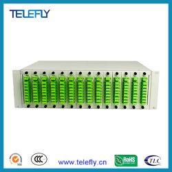 مقسم PLC ذو 126 مركزًا مقاس 19 بوصة يتكون من 3 وحدات، ومفصل PLC بصري من الألياف، ومفصل مخصص لالتقسيم البصري من الألياف متاح