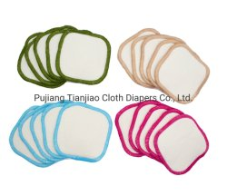 Almohadillas de algodón de bambú ecológico reutilizable electrodos cuadrados maquillaje retirar el kit con el algodón Net Bolsa de transporte y embalaje de cajas de cartón