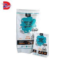 Impressão personalizada Saco de peixe oito reutilizáveis junta lateral de folha de alumínio Stand up Cão Gato Zip de bolsa de plástico de bloqueio de alimentos para animais de Embalagem