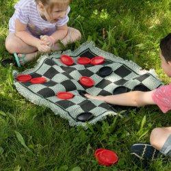 3 en 1Tissu personnalisé de haute qualité Super géant Tic Tac Toe et Checkers planche de jeu pour enfants et adultes