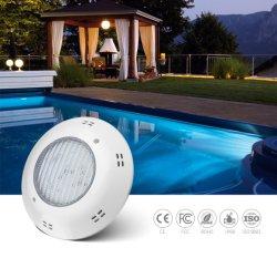 Resistente al agua IP68 18W AC/DC12V Color blanco cálido LED de natación de superficie de la luz de la piscina de hormigón