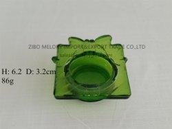 Supporto di candela Votive di vetro dell'Tè-Indicatore luminoso verde con il reticolo di farfalla impresso