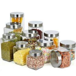 De Pot van de Bus van de Verbinding van de Opslag van het Glas van de Keuken van de heet-verkoop met het Deksel van het Metaal