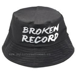 100% بوليستر أسود دلو قبعة طبعة دلو قبعة لأنّ ترقية