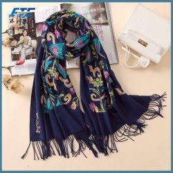 刺繍入りカシミアスカーフ Vintage ウィンターウィメンズスカーフロングサイズショール
