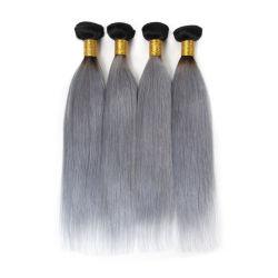 Оптовая торговля 100% волос человека китайский Virgin Реми удлинитель волос 1b/серый