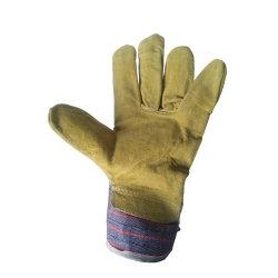 熱い販売牛そぎ皮の安全冬作業手袋の黄色カラー