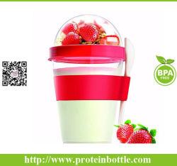 Contenedor de 12 onzas de yogur fría taza con cuchara