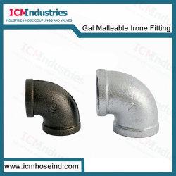 Galvanisiertes formbares Eisen-Rohr 90 90 Grad-Krümmer verlegte Rohrfitting-Abmessungen