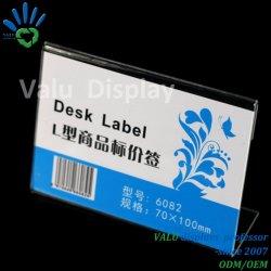 Supermarché le plastique acrylique Titulaire d'étiquette de prix Porte-étiquette pour des étagères métalliques