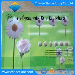 Set di posizionamenti e coasters in plastica PP stampati su misura