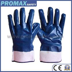 Hochleistungsantibaumwolljersey-blaue Nitril-völlig Arbeits-Handschuhe des säure-und Alkali-chemische Öl-Beweis-NBR