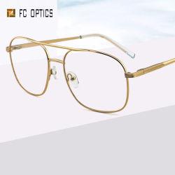 Wholesale Fashion de acero inoxidable doble puente multicolor Retro Ronda llena de metal de la llanta de Gafas Anteojos de Marco óptica gafas de óptica