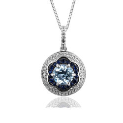 Голубой Топаз кулоны украшения 925 Silver Кулоны Родием покрытие кулоны драгоценных камней