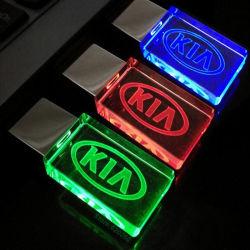 中国の工場販売法LED軽いUSB駆動機構USBの棒USBのLED Light2GB 4GB 8GB 16GB 32GB 64GBが付いているフラッシュ水晶USB