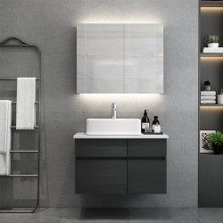 Montado na parede dissipador único banho preto Francês de madeira maciça de cortesia