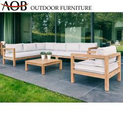屋外アルミニウムファブリック木製の部門別のソファーの庭の家具