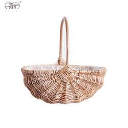 Renel tejidos artesanales de decoración de Jardín Sauce mimbre natural Food Pan regalo cestas de picnic de almacenamiento de la planta de mimbre con asa Cesta de flores