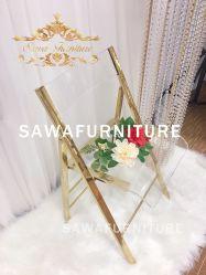 Nouveau design chaise pliante de mariage de l'or en acier inoxydable avec support en acrylique