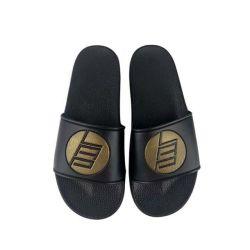 Deslize almugue em branco, o logotipo personalizado Slide de couro preto da sapata de algumins deslize Sândalo Homens