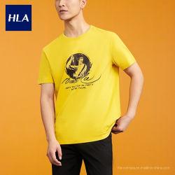 Kungfu Bruce Lee Kleid der Hla Männer Zusammenarbeits-Serie 2020 Männer der Sommer-Kontrast-Farben-runde Stutzen-Kurzschluss-Hülsen-T