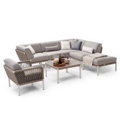 Meubles de jardin patio extérieur profilé en aluminium tissés ensemble canapé de loisirs de corde