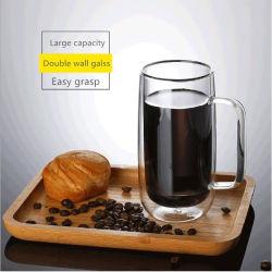 Cuvette en verre soufflé à la main de l'eau avec tasse de thé double couche résistant à la chaleur grande tasse tasse à café