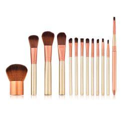 De professionele Borstels van de Make-up Geplaatst de Koffie van de Uitrusting 13PCS namen Gouden Kleur toe het Nylon Multifunctionele Hulpmiddel van de Schoonheid van het Gezicht van het Haar omhoog Borstels maakt