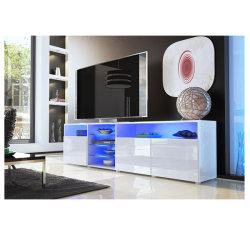 Matt corps portes haut brillant LED moderne meuble TV
