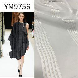 Ym9756 폴리에스테 직물 공단 줄무늬 복장 의복을%s 많은 직물 같이 황금 털실 실크