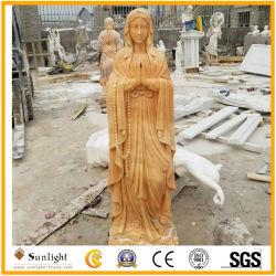 Golden /Branco natural esculpir a pedra mármore Virgem Maria Estátua de escultura religiosa