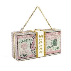 2020 Venda quente jóias 1000 Dólar dinheiro bag bolsa de cristal gota Rhinestone Envio de dólares a lei C Custom 100 dólares Sade Crystal Saco da embreagem saco de dinheiro