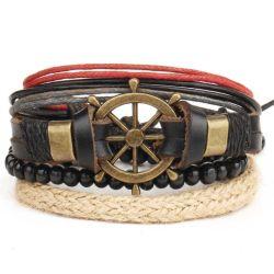 Pulseiras de couro para mulher homens bracelete multicamada Vintage Pulseira jóias artesanais