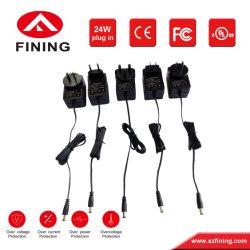 Muestra gratuita de la UE Universal OEM Au nosotros RU 24W/5V 9V 12V 24V AC DC Adaptador de alimentación de conmutación con UL CE FCC