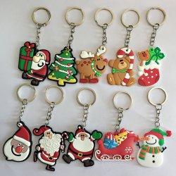 Горячая продажа экологически безвредные ПВХ Рождество орнамент цепочке для ключей