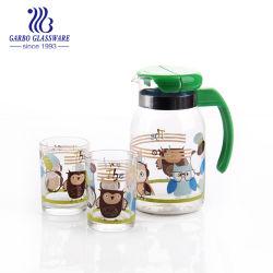Nouveau design 3PCS en verre de l'autocollant de boire ensemble Pitcher avec couvercle et des lunettes 2tumbler Drinkware ensemble parfait pour le thé glacé, de la sangria, Lemo (GB12095-YH3)