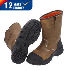 Importados Crazy Horse Couro Calcanhar de alta qualidade inferior de aço Borracha Fashion botas de segurança