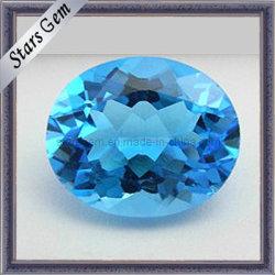 Topacio azul suizo natural forma oval cortado gemas para el colgante