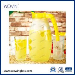 Il vetro stabilito 5PCS dell'articolo da cucina di alta qualità stona la bottiglia di vetro con la bottiglia bianca della spremuta delle tazze 4PCS e del coperchio
