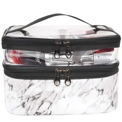 Organizer Waterproof PU Leather Toiletry Bagsの上の白いMarble Makeup Bags Double Layer Travel Cosmetic Cases Large Capacity Make