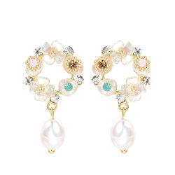 간단한 민물 진주 펀던트 귀걸이가 쉘 모조 다이아몬드에 의하여 귀여운 감미로운 귀걸이 새로운 동향 꽃이 핀다